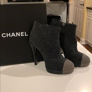 CHANEL black and grey glitter bootie